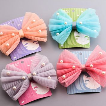 Four colors mesh pearl bow hair accessories girls rubber elastic hair bands