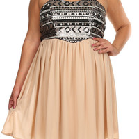 The Kailyn Plus Size Sequin Bodice Chiffon Dress