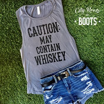 """""""CAUTION: MAY CONTAIN WHISKEY"""" Women's Tank"""
