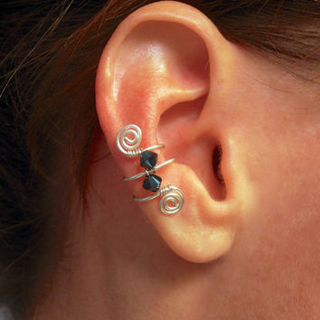 Single Silver Plated Ear Cuff with Double Swarovski Cobalt Blue Crystals and swirls
