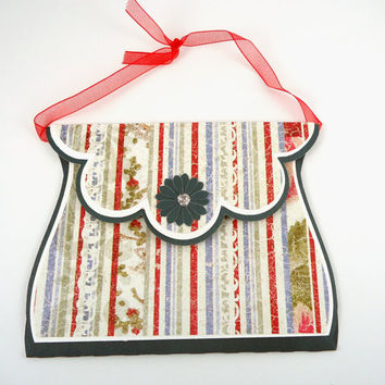Purse Gift Card Holder, Birthday Card, bridal, Anniversary, Victorian Stripes, Red White Blue