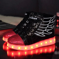 Stylish High-top LED Lightning Patchwork Shoes [6734563911]