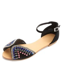 Chained & Jeweled Peep Toe Flats