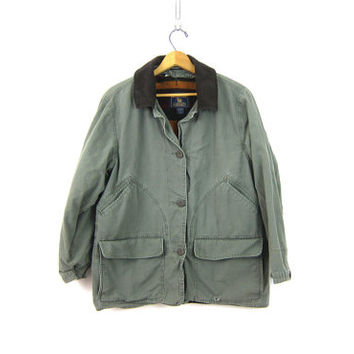 Vintage Drab Gray Green Barn Coat 90s Chore Jacket Ranch Coat Instulated Fall Winter Field Coat Women's Size Large