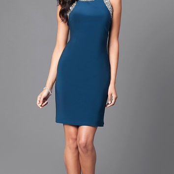 Sleeveless Short Party Dress with Jewel Detailing