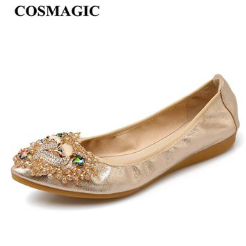New Women Crystal Ballet Flats Folding Shoes 2017 Casual Rhinestone Soft Driving Flats Dancing Egg Rolls Boat Shoes Loafers
