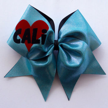 Cali Heart Cheer Bow (Blue)