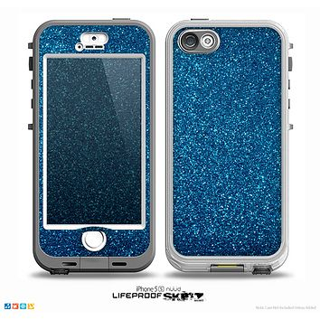 The Blue Sparkly Glitter Ultra Metallic Skin for the iPhone 5-5s NUUD LifeProof Case