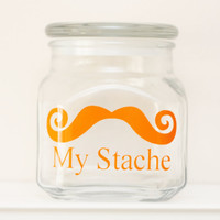 My Stache - Mustache Money Jar - Curly Handlebar Moustache - ORANGE