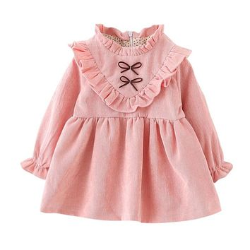 Hot Autumn Style Casual Ruched Dress Girls Long Sleeve Clothing Baby Girls Party Wedding Dress