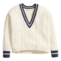 H&M - Cable-knit Sweater - Light beige - Ladies