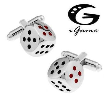 Men Gift Dice Cuff Links &retail Silver Color Copper Material Novelty Casino Dice Design