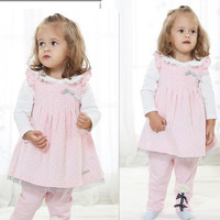 New Arrivals 2014 Baby Girl Clothing Dotted Ventilate Corduroy Beautiful Sweet Dress Leisure Suit Outfits For Spring/Autumn 4set/lot