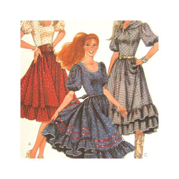 McCalls 7668 Vintage Uncut Pattern Misses Western Style Dress and Scarf Square Dance Dress Size 8