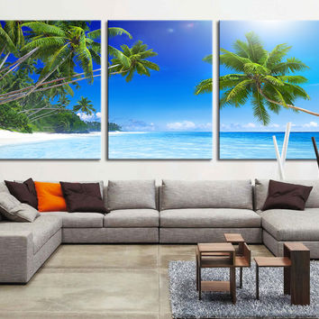 Extra large wall art - Palm and Beach Canvas Print, Palm on the Beach Wall Art Canvas Print, Tropical Beach, Tropical Island Wall Art Canvas