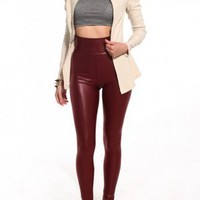 High Waisted Pleather Leggings in Bordeaux