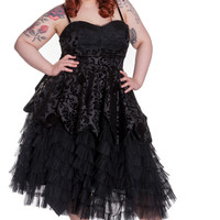Victorian Gothic Wedding Midnight Ball Black Lace Ruffled Dress