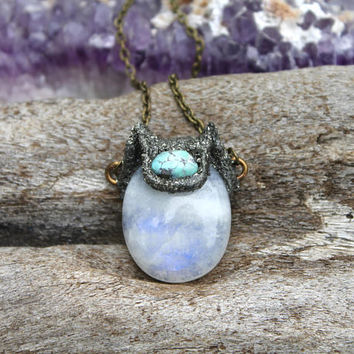 Moonstone & Turquoise Necklace - Cat Necklace - Rainbow Moonstone Jewelry - Feline Jewelry - Pyrite Necklace - Hippie Jewelry - Boho Chic