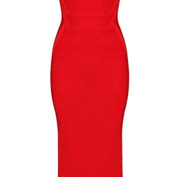 Posh Girl Red Tank Style Bandage Maxi Dress