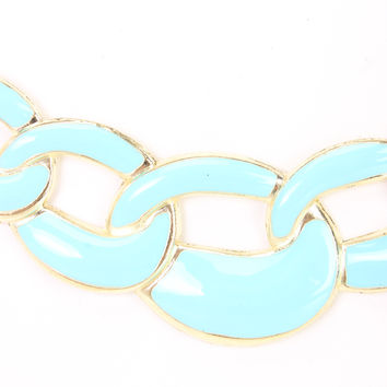 Light Blue Lacquer Finished Chain Link Cute Necklace