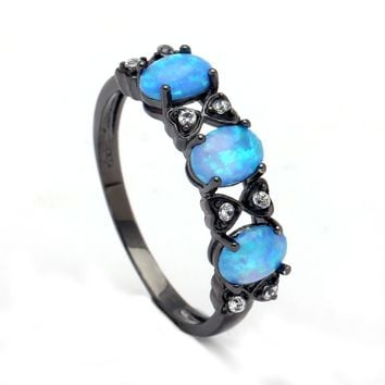 Opal Rings for Women royal blue natural stone Ring Opals Black gold-color Sales Fashion Jewelry Wedding engagement finger ring