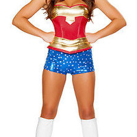 Adult Superhero Costume Wonder Woman Hero Fancy Dress Halloween Outfit