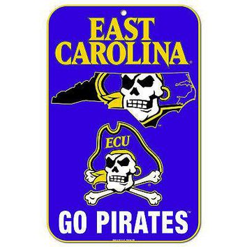 "Licensed East Carolina Pirates NCAA 11"" x 17"" State Plastic Wall Sign 11x17 Wincraft KO_19_1"