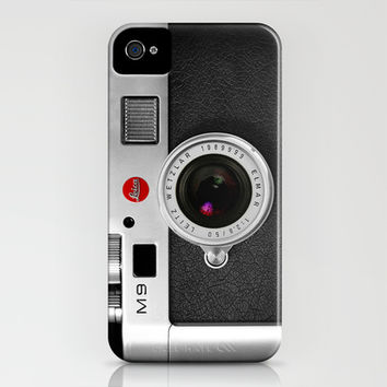 classic retro Black silver Leica M9 Leather vintage camera iPhone 4 4s 5 5c, ipod, ipad case iPhone & iPod Case by Three Second