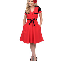 Unique Vintage Red & Black Five & Dine Swing Dress