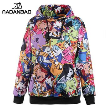 NADANBAO Adventure Time  GO Printed Hoodies Sweatshirt Women moletom Female Suit Hoodie Outside Woman Sudaderas mujerKawaii Pokemon go  AT_89_9