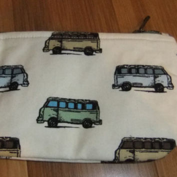 Zip Pouch - Phone Pouch - Cosmetic pouch - zip wallet -Van fabric- van on cream