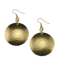 Hammered Nu Gold Disc Earrings by John S Brana Handmade Jewelry - High-Quality Durable Brass - Lightweight - Lifetime Guarantee
