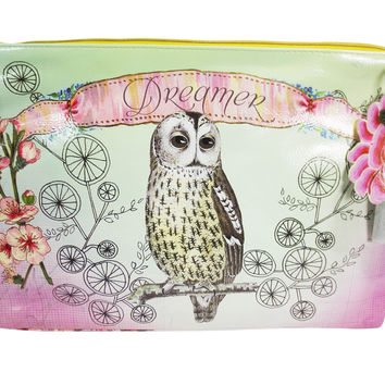 "Vintage Design Owl & Flower "" Dreamer"" Graphic Art Design Oil Cloth Large Make-up or Accessory Travel Bag"