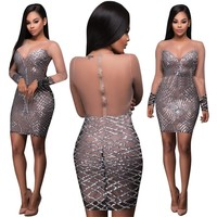 See Through Women Sequin Dresses Backless Vestidos Silver Bandage Dresses Bodycon Sexy Mini Party Night Club Dress Femme Jupe