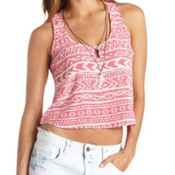 Caged Back Printed Swing Crop Top by Charlotte Russe