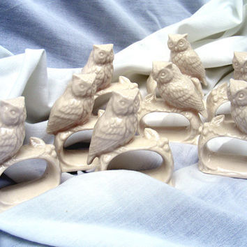Vintage Owl Napkin Rings by Ardalt Set of 8 by GSArcheologist
