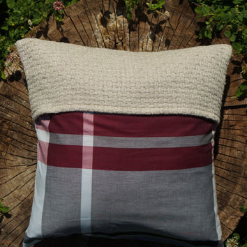 Plaid Pillow/ Throw Pillow With Hemp Fabrique/ Decorative Gray With Red White Stripes/ Christmas Pillow Cover/ Three Snails/ Free Shipping!