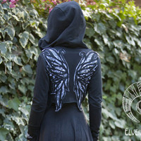 Black and White Peacock Winged Hoodie Wrap