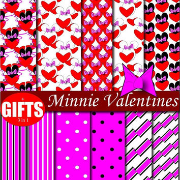 35 % OFF PLUS GIFTS Minnie Valentines Hearts Printable Scrapbooking Birthday Party Invitations Background Paper Goods mouse theme clubhouse