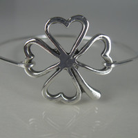 Silver Four Leaf Clover bangle bracelet - Clover Jewelry - Irish Jewelry - Clover Bracelet - Four Leaf Clover - Four Leaf Clover Jewelry