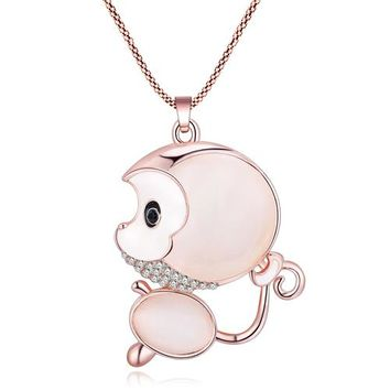Statement Opal Alloy Monkey Necklaces Pendants Long Rhinestone Chain Collar New Trendy Animal Jewelry For Women