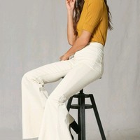 Inside Story Cream Denim High Waist Bell Bottom Flare Leg Jean Pants (Pre-order)