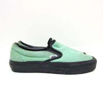 DCCKBWS Vintage VANS Tennis Shoes MINT GREEN Slip On 80s Sneakers Retro 90s Skater Shoes Unise