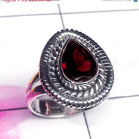 20% Off Sales Garnet Ring, Birthstone Ring, Silver Garnet Ring, Bezel Set Ring, 925 Silver Ring, Sterling Silver Ring, Red Garnet Ring, Gift
