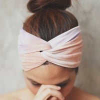Hippie Turban Twist Headband - Peach and Purple // Tie-dye collection