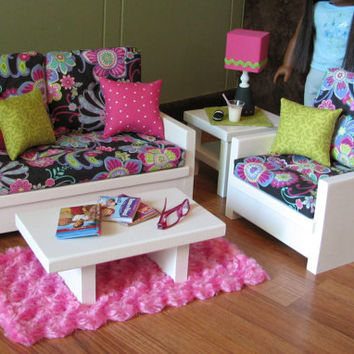 "18"" Doll Furniture - American Girl sized Living Room - Loveseat / Chair / Coffee Table / End Table / Lamp / Rug - MAY 2014 SHIPPING ONLY"