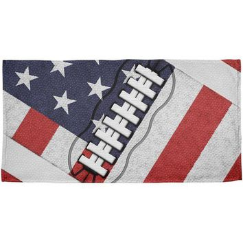 DCCKU3R 4th of July American Flag Patriot Football All Over Beach Towel