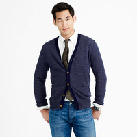 SLIM RUSTIC MERINO ELBOW-PATCH CARDIGAN IN COLORBLOCK