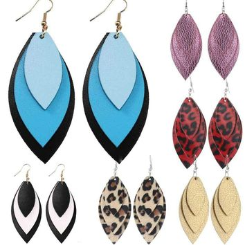 Handmade Leather Earrings Boho Leaf Teardrop Dangle Ear Stud Jewelry Women New