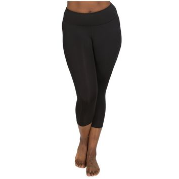 Black Compression High Rise Capri Plus Size Leggings